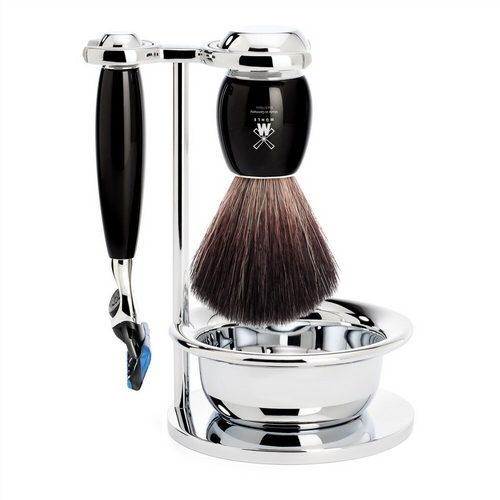 Shaving Set 4 Piece - Black Fibre - Black